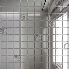 Зеркальная мозаика «Серебро» (90%) + «Хрусталь»(10%) с чипом 25х25 мм