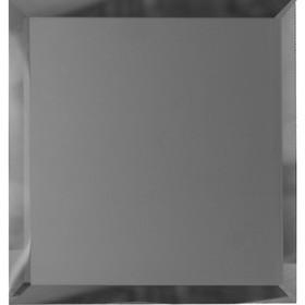 Квадратная зеркальная графитовая матовая плитка с фацетом 10 мм, 100х100 мм Ош