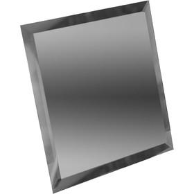 Квадратная зеркальная графитовая плитка с фацетом 10 мм, 100х100 мм Ош