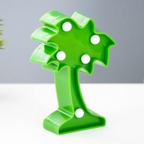 """Ночник """"Пальма малая"""" 5 LED батарейки 3xAG13 зеленый 8х3х12 см."""