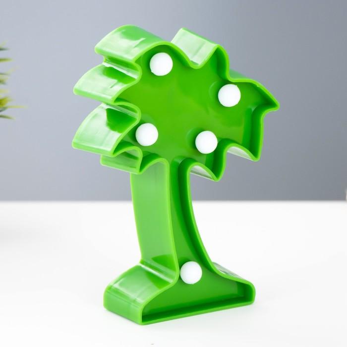 """Ночник """"Пальма малая"""" 5 LED батарейки 3xAG13 зеленый 8х3х12 см. - фото 7931835"""