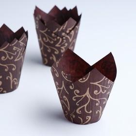 """Форма бумажная """"Тюльпан"""", коричневый, золотые лилии, 5 х 8 см"""