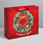 Пакет ламинированный вертикальный «Новогодний венок», ML 8 × 23 × 27 см