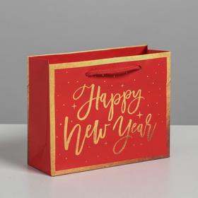 Package gift laminated horizontal, New Year, ML 27 x 23 x 8 cm