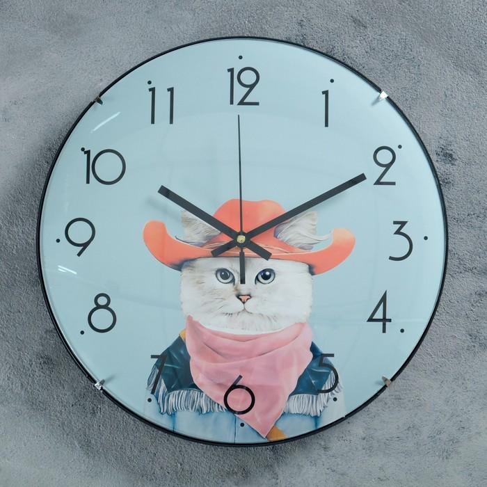 """Часы настенные, серия: Детские, """"Ковбой"""", d=30 см, плавный ход"""