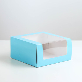 "Confectionery packaging with window ""Mousse"", blue, 23.5 x 23.5 x 11.5 cm"