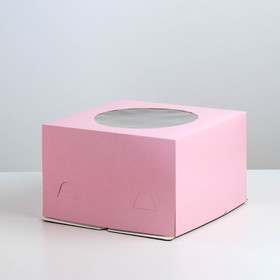 Pastry packing with window, pink, 30 x 30 x 19 cm