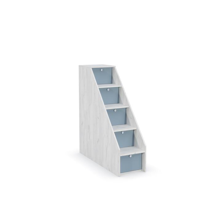 Лестница с ящиками Тетрис 308, 368х1157х1227, Дуб белый крафт/Капри синий