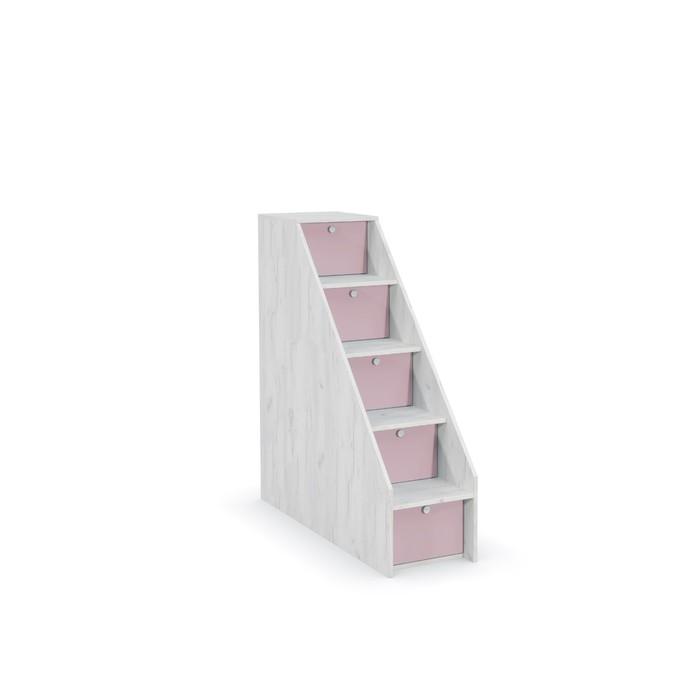 Лестница с ящиками Тетрис 308, 368х1157х1227, Дуб белый крафт/Лаванда