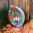 """Новогодний шар, фреска """"Зайчик с подарком"""""""