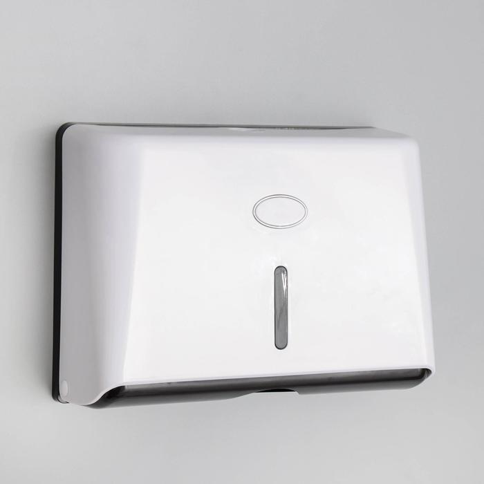 Диспенсер бумажных полотенец в листах, 27,5×10×20,5 см, пластик, цвет белый