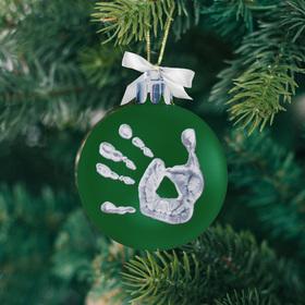 Набор для творчества. Новогодний шар «Отпечаток детской ручки», зелёный