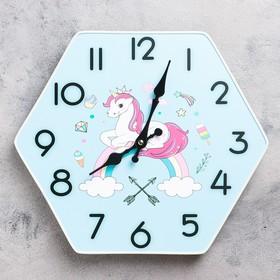"""Часы настенные, серия: Классика, """"Единорог на радуге"""", 33х30 см"""