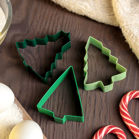 """A set of forms for cookies 3-piece """"Christmas Tree"""", green"""