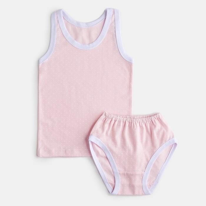 Комплект для девочки (майка, трусы), цвет розовый/принт горох, рост 110 см