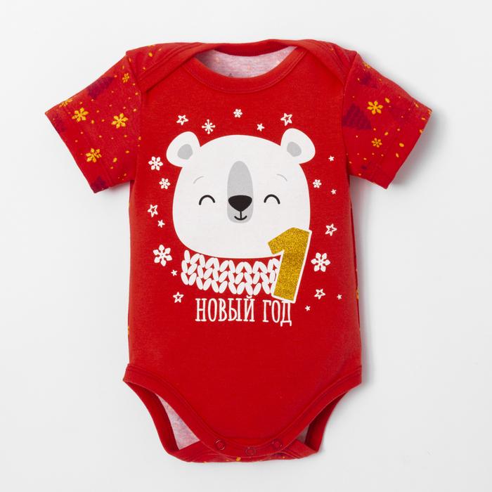 """Боди Крошка Я """"Новогодний медвежонок"""", красный, р.28, рост 86-92 - фото 105479249"""