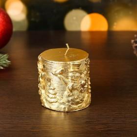 "Свеча новогодняя ""Снеговики"" 6,5х7, золотая"