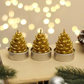 """Свеча новогодняя """"Шишка золотая"""", 4×6 см, цена за 1 штуку"""