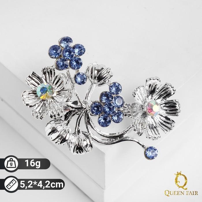 """Брошь """"Цветы"""" лютики, цвет голубой в серебре"""