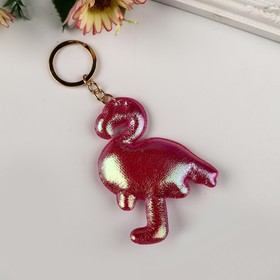 Keychain leatherette flamingo color pink 9x7 cm