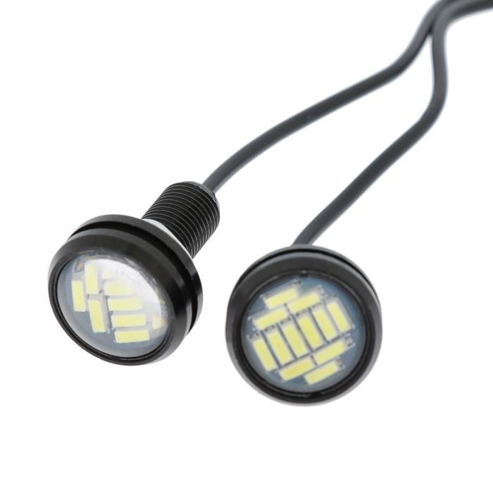 Дневные ходовые огни TORSO, 12 LED, 6 Вт, 12 В, 2 шт, D=23 мм, металл, корпус черный