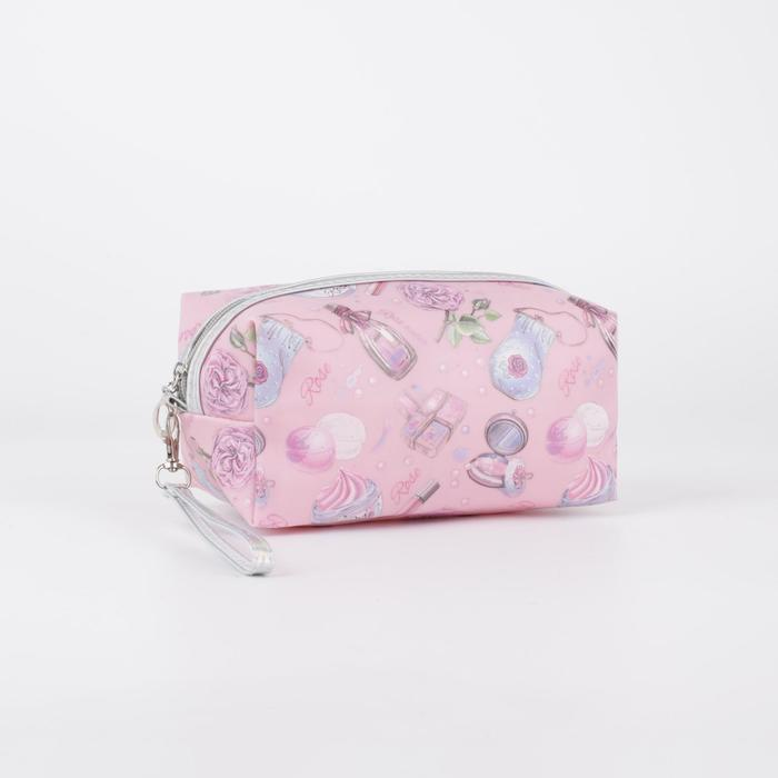 Косметичка, отдел на молнии, с ручкой, цвет розовый