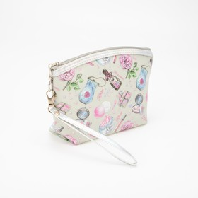 Cosmetic Bag Perfume. 24*6*15cm, Department, zippered with handle, print, beige