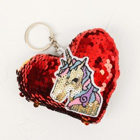 """Soft keychain """"heart of the unicorn"""" sequins, MIX color"""