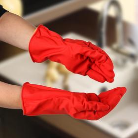 Перчатки хозяйственные латексные с утеплителем, размер L, 85 гр, цвет красный