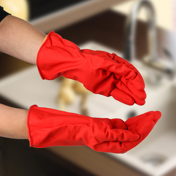 Перчатки хозяйственные латексные с утеплителем, размер L, 85 гр, цвет красный - фото 4647910