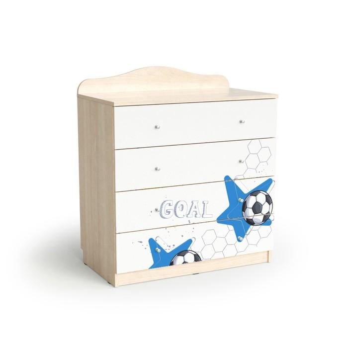 Комод с 4 ящиками Football, 800х450х910, Белый/Ясень шимо светлый