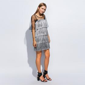 Платье с бахромой MINAKU, размер 44, цвет серебро