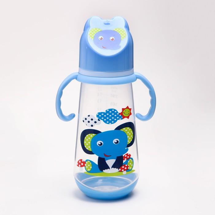 Бутылочка для кормления, 420 мл., широкое горло, цвет голубой