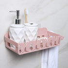 """Полка для ванных принадлежностей на присоске с крючками """"Бабочки"""", 30,5×11×8 см, цвет МИКС"""