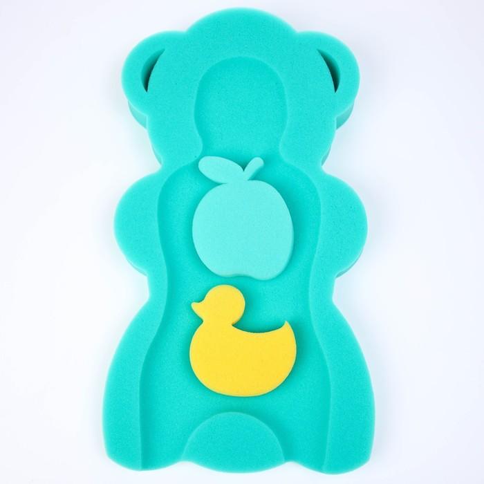 """Губка для купания Макси """"Мишка"""", цвет зеленый, синий"""