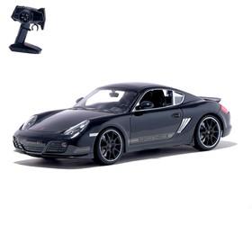Машина радиоуправляемая Porsche Cayman R, масштаб 1:16, работает от аккумулятора, свет, цвет чёрный