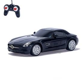 Машина радиоуправляемая Mercedes-Benz SLS AMG, масштаб 1:24, работает от батареек, свет , цвет черный, MZ 27046