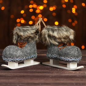 """The candy """"Boot"""" on the ski, with ribbon, set of 2 PCs, gray color"""