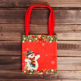 Сумочка для подарков «Снеговик с друзьями»