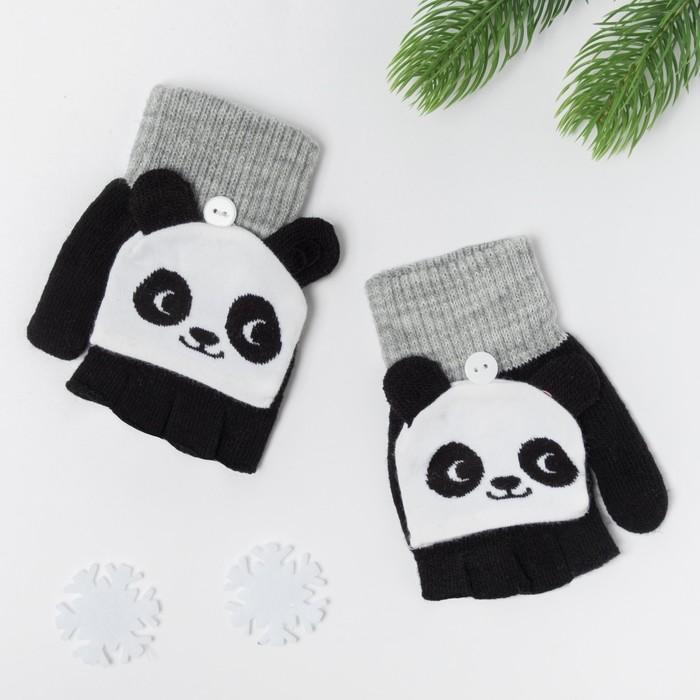"""Митенки/варежки детские MINAKU """"Панда"""", размер 19, цвет чёрный/белый"""