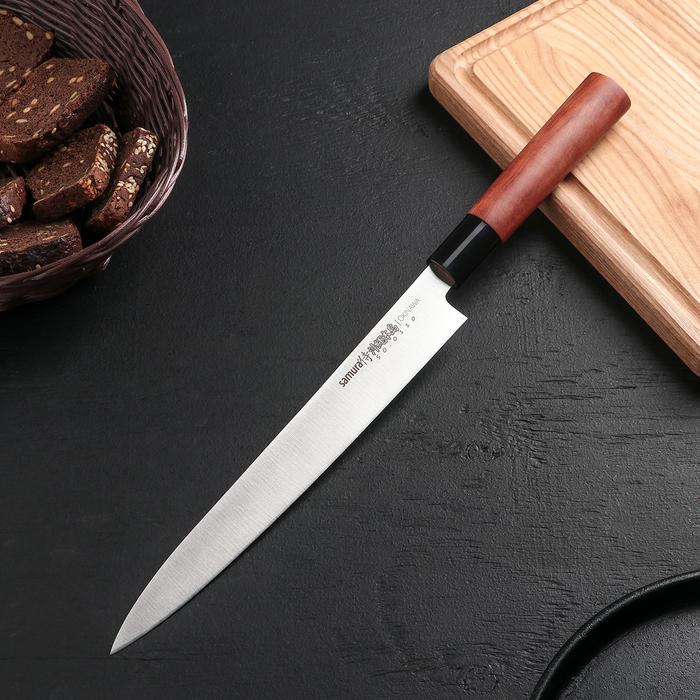 Нож кухонный Samura Okinawa Янагиба, лезвие 24 см, сталь AUS-8, рукоять из палисандра