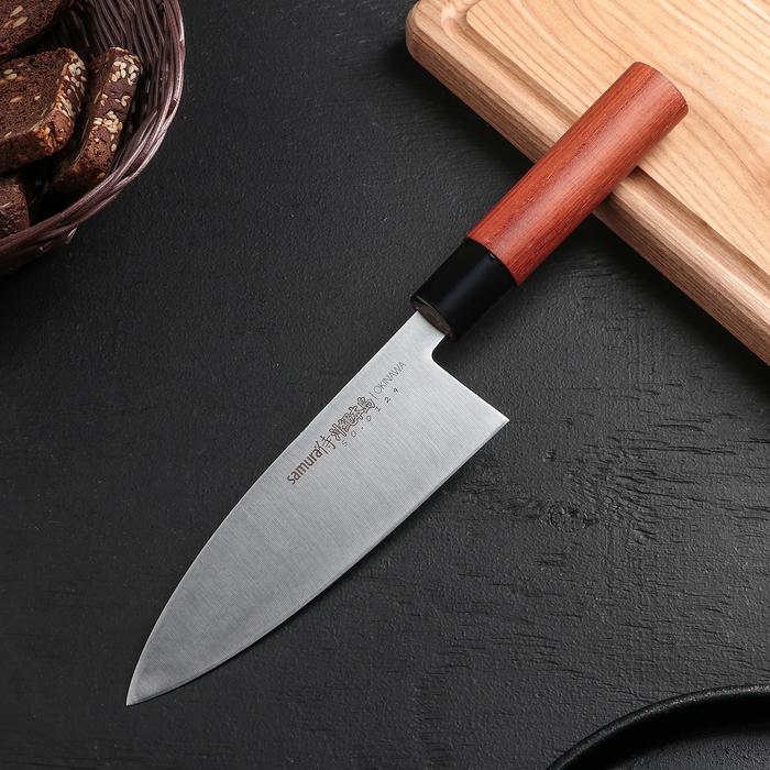 Нож шеф кухонный Samura Okinawa Деба, лезвие 17 см, сталь AUS-8, рукоять из палисандра