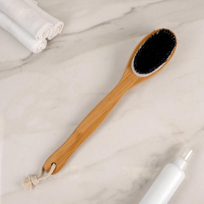 Щётка банная с ручкой и массажёром Доляна, натуральная щетина