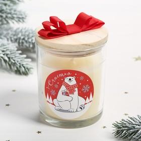 Свеча с деревянной крышкой «Счастья», белый медведь Ош