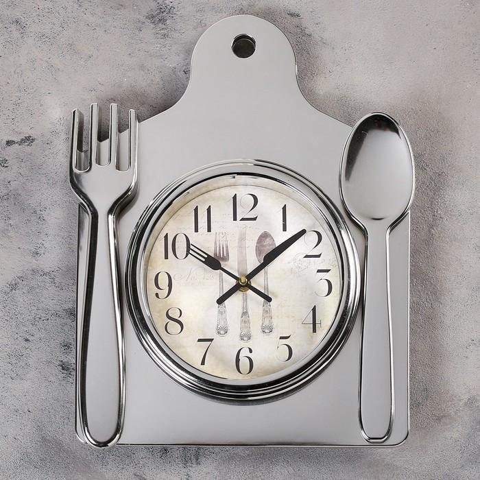 """Часы настенные, серия: Кухня, """"Лориш"""", 36х29 см, хром"""