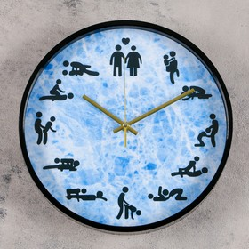 """Wall clock, series: People who """"fool around?"""", d=30 cm, mix"""