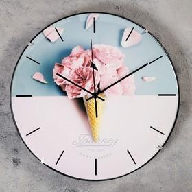 """Часы настенные, серия: Интерьер, """"Розовый рожок"""", d=30 см, плавный ход"""