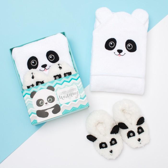 """Набор """"Панда"""", махровое полотенце с капюшоном 85*85 см, следки 18 см"""