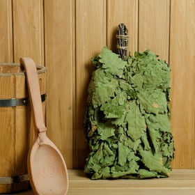 Broom for a bath from the Caucasian oak, in individual packaging