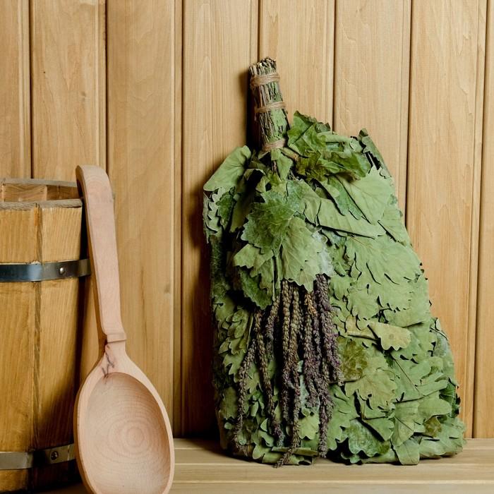 Веник для бани ЭКСТРА из кавказского дуба с шалфеем, в индивидуальной упаковке